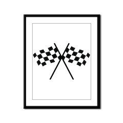 checker flag autorace Framed Panel Print