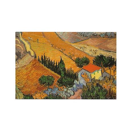Van Gogh Valley Ploughman Rectangle Magnet (100 pa