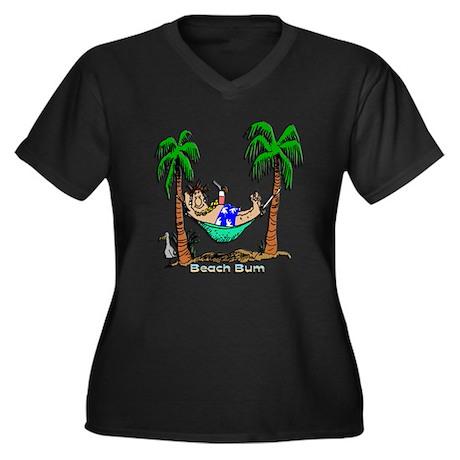 Beach Bum Women's Plus Size V-Neck Dark T-Shirt