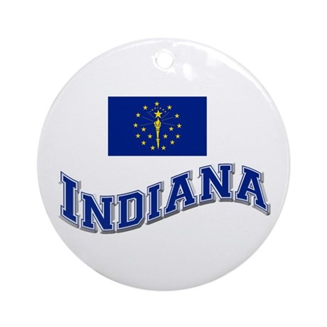 Indiana State Flag Ornament (Round)