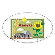Kansas Map Oval Decal