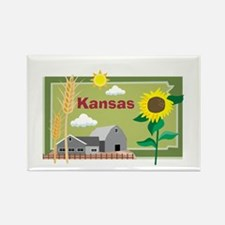 Kansas Map Rectangle Magnet