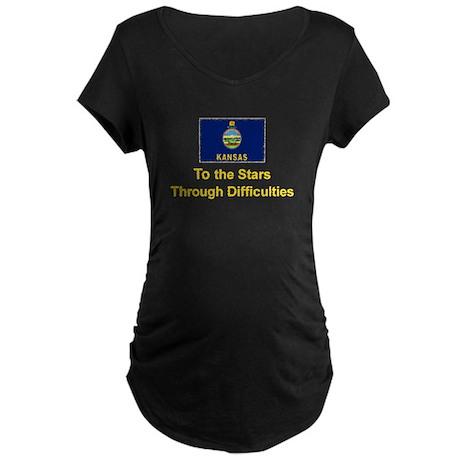 Kansas State Motto Maternity Dark T-Shirt