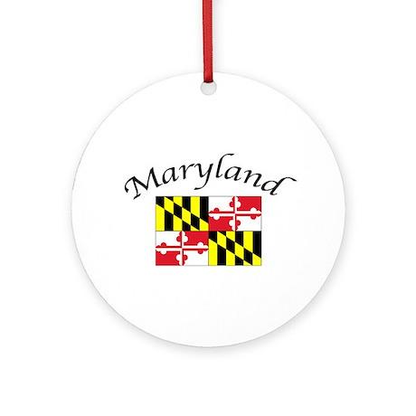 Maryland State Flag Ornament w/ribbon