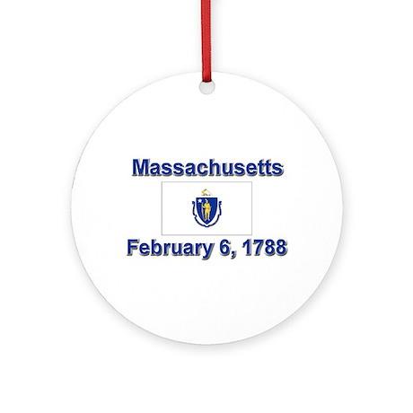 Massachusetts State Flag Ornament (Round)