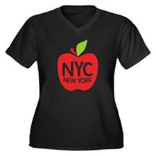 Big Apple Green NYC Women's Plus Size V-Neck Dark