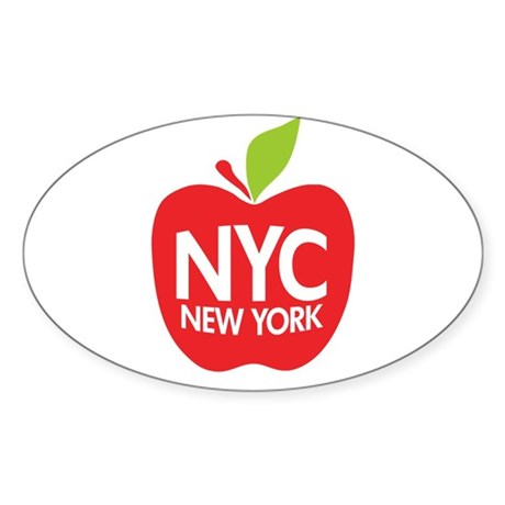 Big Apple Green NYC Oval Sticker (10 pk)