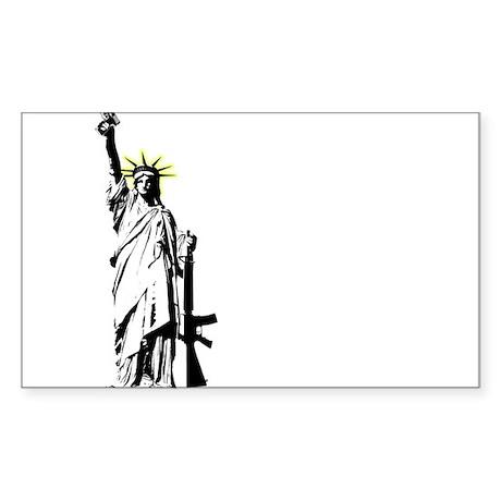 Banksy Style Liberty Gun Rectangle Sticker