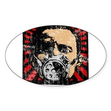 Gas Mask Banksy Style Oval Decal