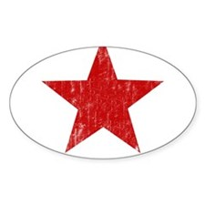 Punk Star Red Oval Sticker (10 pk)