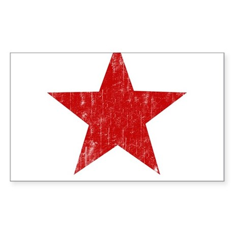 Punk Star Red Rectangle Sticker