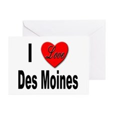 I Love Des Moines Iowa Greeting Cards (Package of