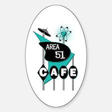 Area 51 Cafe Oval Sticker (10 pk)