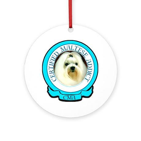 Maltese Addict Ornament (Round)