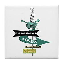 Crossroads Vintage Diner Sign Tile Coaster