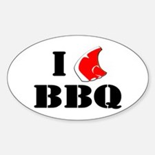 I MEAT BBQ Oval Decal