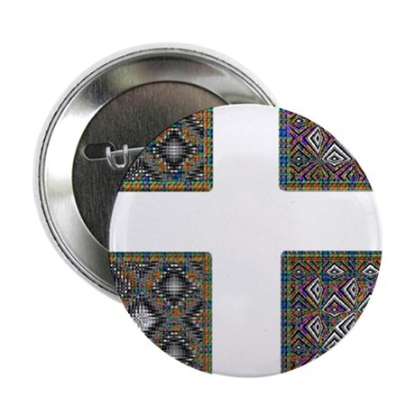"""Stained Glass Cross 2.25"""" Button"""