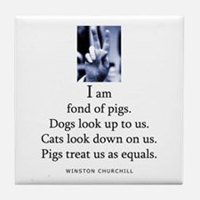 Fond of pigs Tile Coaster