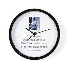 Fond of pigs Wall Clock