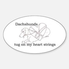 Dachshund Heart Strings Oval Decal