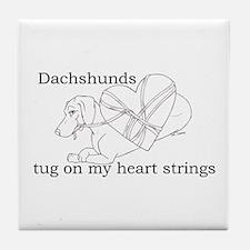 Dachshund Heart Strings Tile Coaster