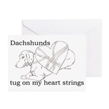 Longhaired Dachshund tug Greeting Cards (Package o