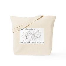 Longhaired Dachshund tug Tote Bag
