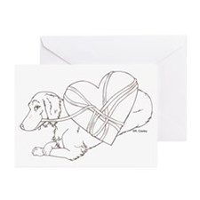 Longhaired Dachshund heartstr Greeting Cards (Pack