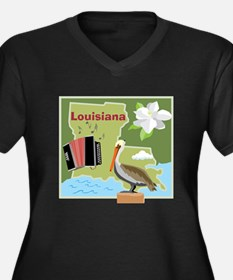 Louisiana Map Women's Plus Size V-Neck Dark T-Shir
