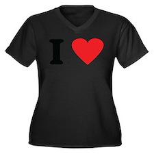 I love Women's Plus Size V-Neck Dark T-Shirt