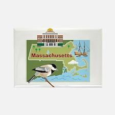 Massachusetts Map Rectangle Magnet
