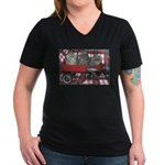 Wagonful of Kittens Women's V-Neck Dark T-Shirt