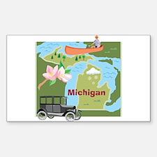 Michigan Map Rectangle Sticker 50 pk)