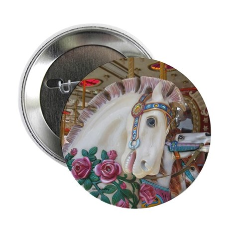 "Roached & Roses Carousel Hors 2.25"" Button (10 pac"