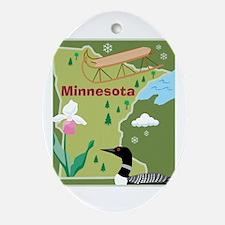 Minnesota Map Oval Ornament