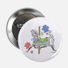 Carousel Horse Flowers Button