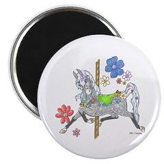 Carousel Horse Flowers Magnet