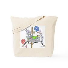 Carousel Horse Flowers Tote Bag