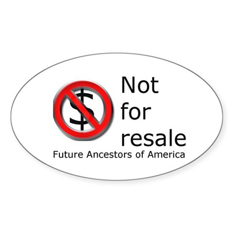 Not for Resale Oval Sticker (50 pk)
