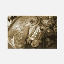 Sepia Armored C Horse Rectangle Magnet