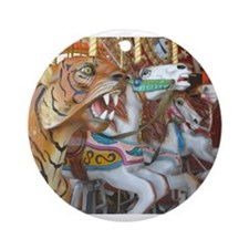 Tiger Horses on Carousel Ornament (Round)