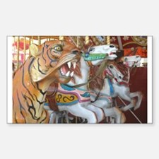 Tiger Horses on Carousel Rectangle Decal
