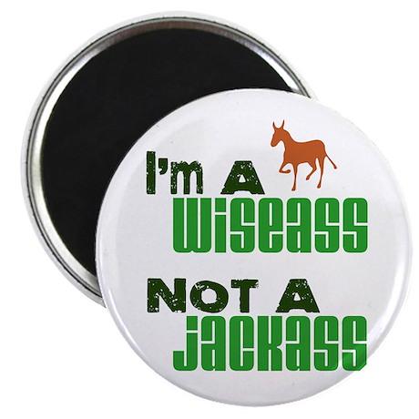 """""""Wiseass, Not Jackass"""" 2.25"""" Magnet (10 pack)"""