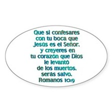 Romanos 10:9 Oval Decal