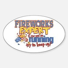 Fireworks Expert Oval Sticker (10 pk)