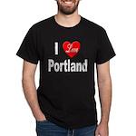 I Love Portland (Front) Black T-Shirt
