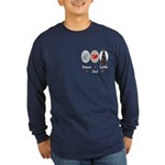 Peace Love Dad Long Sleeve Dark T-Shirt