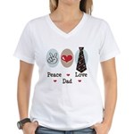 Peace Love Dad Women's V-Neck T-Shirt