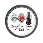 Peace Love Dad Wall Clock