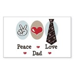 Peace Love Dad Rectangle Sticker